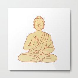 Gautama Buddha Sitting Lotus Position Drawing Metal Print