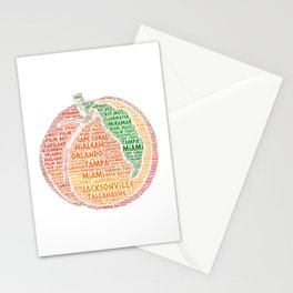 Peach Fruit illustrated with cities of Florida State USA Stationery Cards