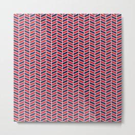 Nautical Chevron - Red and Navy Herringbone Metal Print