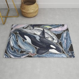 Dolphin, orca, beluga, narwhal & cie Rug