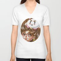 bee and puppycat V-neck T-shirts featuring A Bee and her PuppyCat by Kristin Frenzel