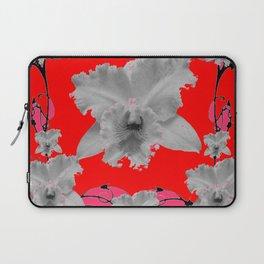 MODERN ART RED ART NOUVEAU WHITE ORCHIDS ART Laptop Sleeve