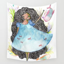 Girl and fish Wall Tapestry