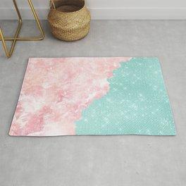 Girly Modern Teal Glitter Pink Marble Color Split Rug