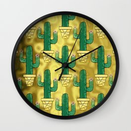 Clay Pot Cactus Wall Clock