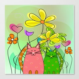 Whimsical Cats and Flowers III Canvas Print