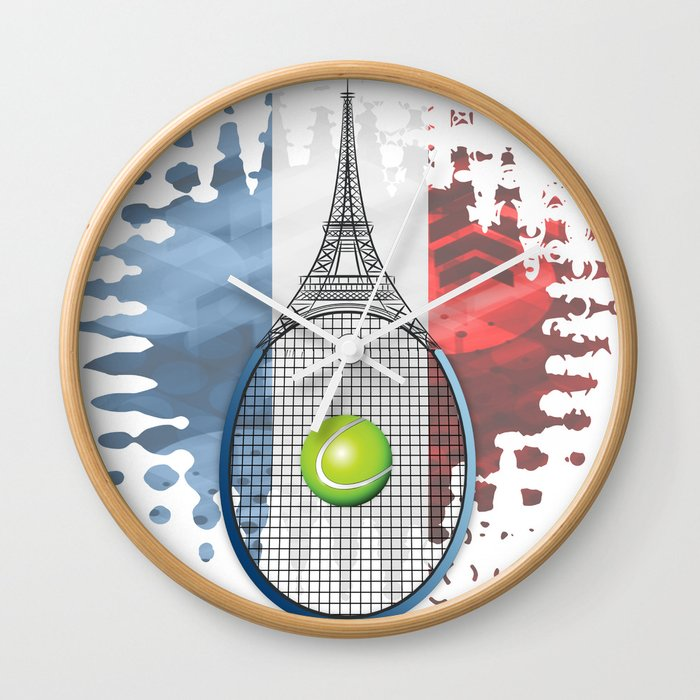 Racquet Eiffel Tower with French flag colors in background Wall Clock
