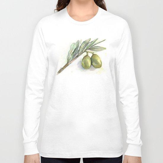 Olive Branch | Green Olives | Watercolor Illustration Long Sleeve T-shirt