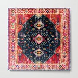 N122 - Vintage Heritage Traditional Boho Moroccan Style Fabric Design. Metal Print