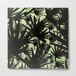 Modern black green abstract tropical leaves Metal Print
