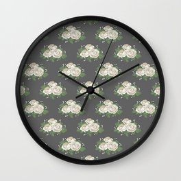 Antique White Roses Wall Clock