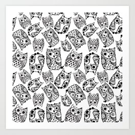 Funny cute owls with ink splashes. Art Print