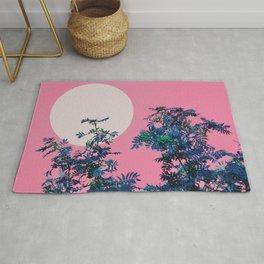Pink sky and rowan tree Rug