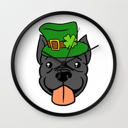 Leprechaun Pitbull - St. Patricks Day Wall Clock