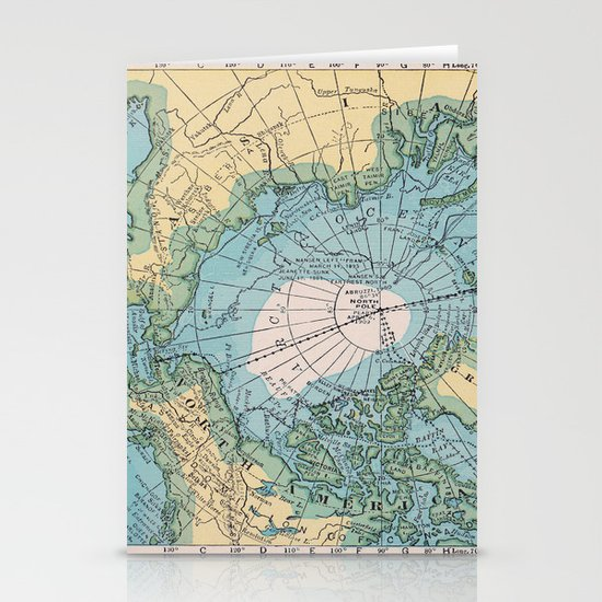 Vintage Arctic Map Stationery Cards