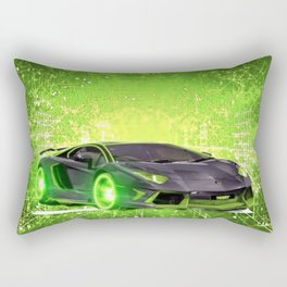 Tronic Green Sports Car Rectangular Pillow