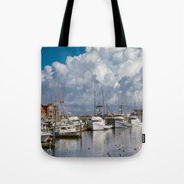 Storm Clouds over the Westport Marina Tote Bag