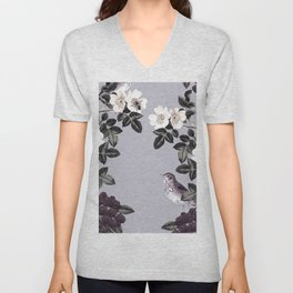 Birds and the Bees Blue Gray Unisex V-Neck
