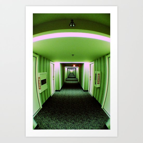 Green corridor Art Print