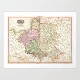 Vintage Map of Poland (1818) Art Print