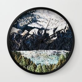 Mountaints Embroidery Wall Clock