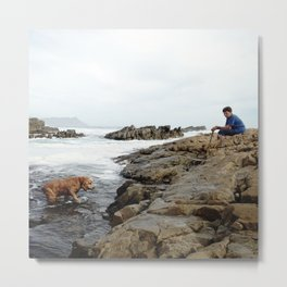 #168Photo #185 #Grandma in #Blue and the #Red #Spaniel playing in the #Pools Metal Print