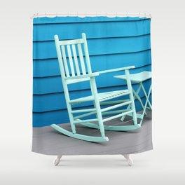 Coastal Beach House Art - Blue Rocking Chair - Sharon Cummings Shower Curtain