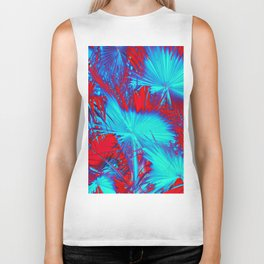 closeup palm leaf texture abstract background in blue and red Biker Tank