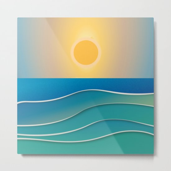 The sun comes and goes but the waves remain Metal Print