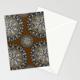 Fall Inspired Black, Brown, and Gold Mandala Textile Pattern Stationery Cards