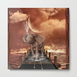 Cute baby elephant Metal Print