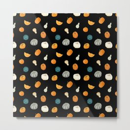 Halloween Pumpkins & Gourds - black palette Metal Print