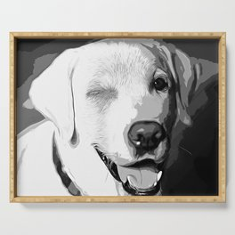labrador retriever dog winking vector art black white Serving Tray