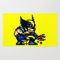 xmen Area & Throw Rugs featuring Wolvey Pixels by Rapsmyinitials