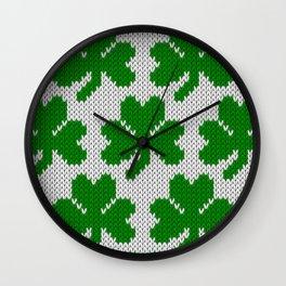 Shamrock pattern - white, green Wall Clock