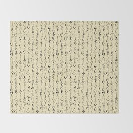 Ancient Japanese on Parchment Throw Blanket