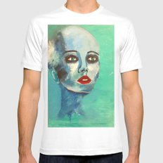 Bald MEDIUM White Mens Fitted Tee