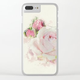 Watercolor Pink Rose Clear iPhone Case