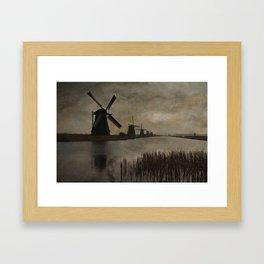 Windmills at Kinderdijk Holland Framed Art Print