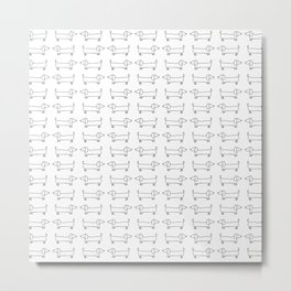 Dachshunds pattern in black and white Metal Print