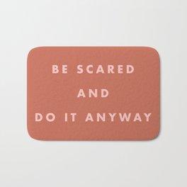 Inspirational Bravery Quote in Terra Cotta Bath Mat