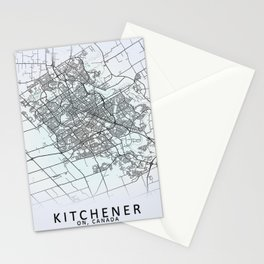 Kitchener, ON, Canada, White, City, Map Stationery Cards