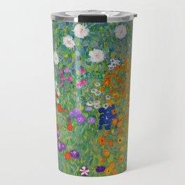 Gustav Klimt Flower Garden Floral Art Nouveau Travel Mug