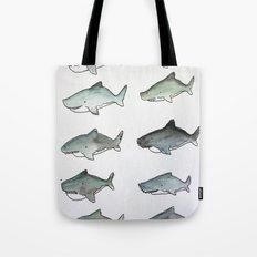Cute Watercolor Sharks - Ocean Watercolor Art Tote Bag