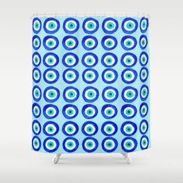 Evil Eye Amulet Talisman - on turquoise Shower Curtain