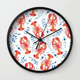 Pink Lobsters in the Tide Wall Clock