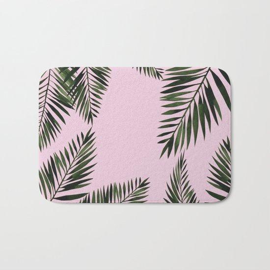 Watercolor tropical palm leaves pink Bath Mat