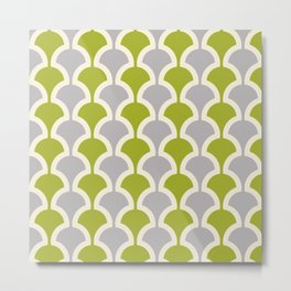 Classic Fan or Scallop Pattern 419 Gray and Olive Green Metal Print