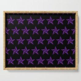 Purple Tattoo Style Star on Black Serving Tray