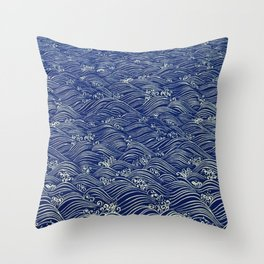 Japanese Seigaiha - Eclectic Abstract Throw Pillow